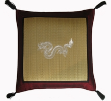 Throw Pillow - Tatami w/Burgundy Silk-blend Trim - Dragon