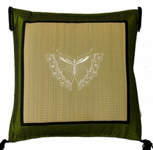 Throw Pillow - Tatami w/Olive Silk Blend Trim - Butterfly