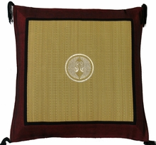 Throw Pillow - Tatami w/Burgundy Silk-Blend Trim - Double Cranes