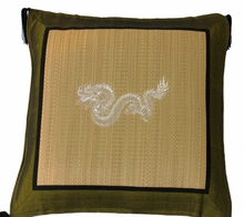 Throw Pillow - Tatami w/Olive Silk-Blend Trim - Dragon
