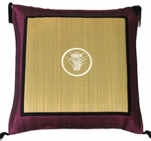 Throw Pillow - Tatami w/Purple Silk-Blend Trim - Iris
