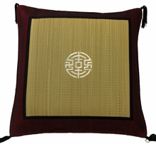 Throw Pillow - Tatami w/Burgundy Silk-Blend Trim -  Longevity Coin