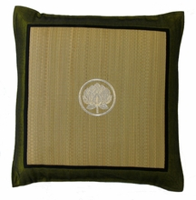 Throw Pillow - Tatami w/Olive Silk-blend Trim - Lotus Bud