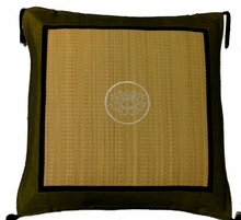Throw Pillow - Tatami w/ Olive Silk-Blend Trim - Lotus Bloom
