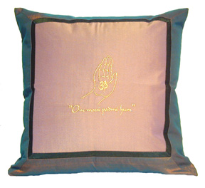 "Silk Throw Pillow - ""Om Buddha Hand"""