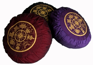 "Meditation Cushion Buckwheat Hull Zafu - ""Eight  Auspicious Symbols"""
