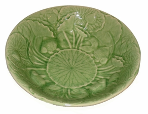 "Celadon Porcelain Lotus Bowl - 13"" x 3"" Deep"