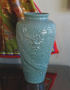 Celadon Dragon Vase - 19""