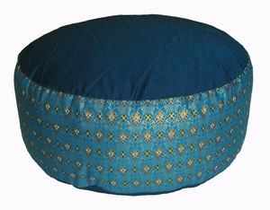 Meditation Cushion - Combination Buckwheat & Kapok Fill - Teal Blue Indochine