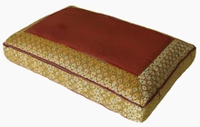 Meditation Bench Cushion - Iridescent Saffron Jewel Brocade