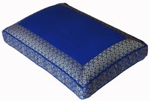 Low Rise Meditation Cushion - Royal Blue Jewel Brocade