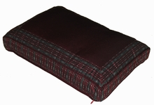 Meditation Bench Cushion - Burgundy/Gray Global Weave