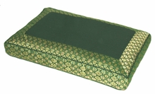 Meditation Bench Cushion - Green Jewel Brocade