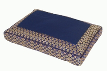Meditation Bench Cushion - Dark Blue Jewel Brocade