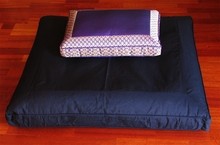 Black Zabuton & Rectangular Low Rise Meditation Cushion Set - Purple Brocade