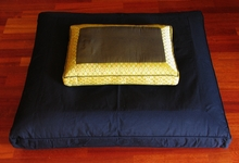 Black Zabuton & Rectangular Low-Rise Meditation Cushion Set - Olive Green  Brocade