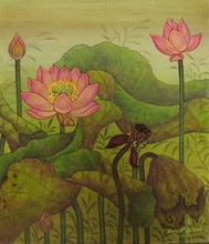 Lotus Garden III - Signed Original Painting