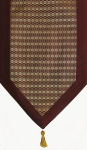 Table Runner - Classic Brocade Thai Silk-Blend - Brown