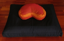 Crescent Zafu & Zabuton Meditation Cushion Set - Global Zafu - Saffron - Silk Blend Zabuton - Black
