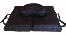 Crescent Zafu  & Folding Meditation Cushion Set -  Global Weave - Purple