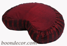 Crescent Zafu Meditation Cushion -  Burgundy Global Weave