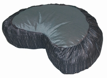 Crescent Zafu Meditation Cushion - Global Weave - Silver/Gray