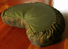 Crescent Zafu Meditation Cushion - Global Weave - Olive/Coppery Gold