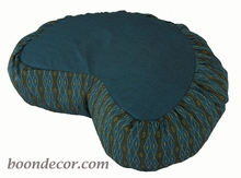 Crescent Zafu Meditation Cushion - Teal Global Weave