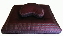 Crescent Zafu & Zabuton Meditation Cushion Set - Burgundy Global Weave