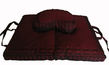 Crescent Zafu & Folding Zauton Meditation Cushion Set - Burgundy Global Weave