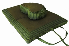 Crescent Zafu & Folding Meditation cushion Set - Olive Green Global Weave