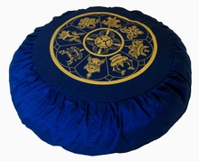Round Zafu Meditation Cushion - Eight Auspicious Symbols - Blue