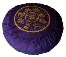 Round Zafu Meditation Cushion - Eight Auspicious Symbols - Purple