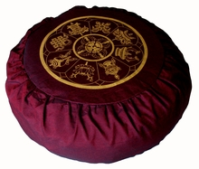 Round Zafu Meditation Cushion - Eight  Auspicious Symbols - Burgundy