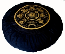 Round Zafu Meditation Cushion - Eight Auspicious Symbols - Black