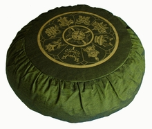 Round Zafu Meditation Cushion Eight Auspicious Symbols - Olive
