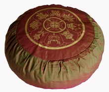 Round Zafu Meditation Cushion Eight Auspicious Symbols - Saffron