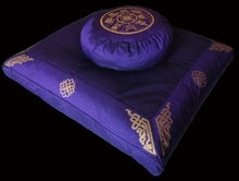 Zafu & Zabuton Meditation Cushion  Set - Eight Auspicious Symbols - Purple