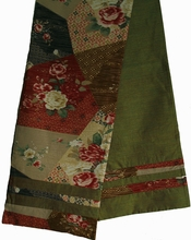 "Reversible Japanese ""Obi"" Silk Table Runner or Wall Hanging - Olive"
