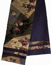 "Reversible Japanese ""Obi"" Silk Table Runner or Wall Hanging - Violet-Blue"