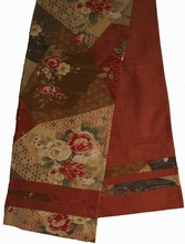 "Reversible Japanese ""Obi"" Silk Table Runner or Wall Hanging -  Rust"