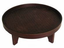 Round Serving Tray On Base - Wood w/Hand Woven Bamboo Mat Inlay - Brown