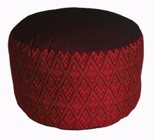 High Seat Zafu Meditation Cushion - Burgundy I Ikat Print