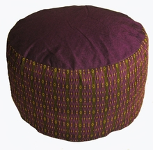 "Zafu Meditation Cushion - Ropund ""High Seat"" Zafu - Purple/Green"