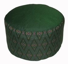 High Seat Zafu Meditation Cushion - Global Ikat - Green