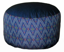 High Seat Zafu Meditation Cushion - Global Ikat - Blue