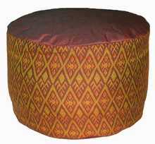 High Seat Zafu  Meditation Cushion - Global Ikat - Brown/Gold