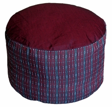 High Seat Zafu Meditation Cushion - Burgundy/Gray Global Weave