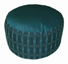Meditation Cushion High Seat Zafu - Combination Buckwheat/Kapok Fill - Teal Blue