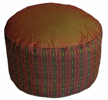 High Seat Zafu Meditation Cushion - Saffron/Green Global Weave